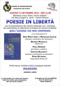 Poesie in libertà carcere bollate 12 9 13 Verano Brianza Locandina