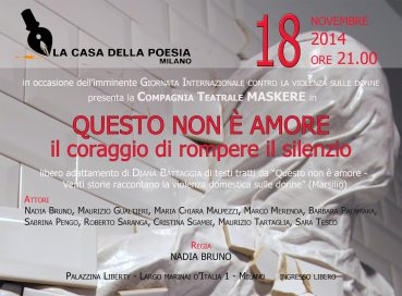 Questo non è amore 18 11 14 Milano Locandina